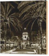 Pasadena City Hall After Dark In Sepia Tone Wood Print