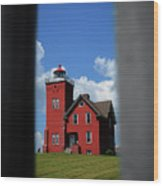 Passageway To The Two Harbors Lighthouse Wood Print