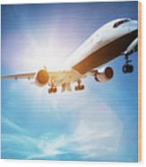 Passenger Airplane Taking Off, Sunny Blue Sky. Wood Print