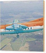 Passenger Plane Fokker 27 During Preparation For Planting  Wood Print