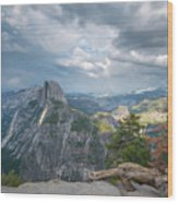 Passing Clouds Over Half Dome Wood Print
