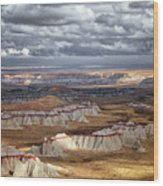 Passing Thunderstorms And Sun Breaks Highlight The Banded Hills Of Arizona's  Ha Ho No Geh Canyon. Wood Print