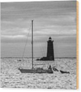 Passing Whaleback Light In The Early Morning Wood Print