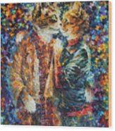 Passion Of The Cats  Wood Print