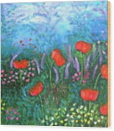 Passionate Poppies Wood Print by Alanna Hug-McAnnally