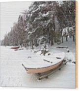 Pastel Boat Wood Print