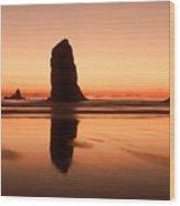 Pastel Evening On The Oregon Coast Wood Print