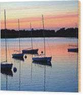 Pastel Lake And Boats Simphony Wood Print