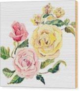 Pastel Roses Wood Print