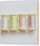 Pastel Spools Of Vintage Thread Wood Print