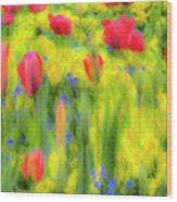 Pastel Summer Flowers  Wood Print