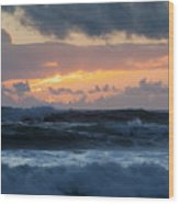 Pastel Sunset Over Stormy Waves Wood Print