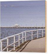 Pastel Tone Sea Pier Landscape Wood Print