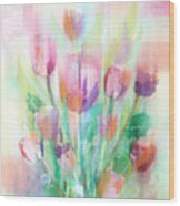 Pastel Tulips Collage Wood Print