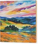 Pastoral Poppies On Yokohl Valley Wood Print