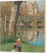 Pastoral Scene On The Bank Of The Loing Wood Print