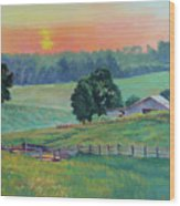 Pastoral Sunset Wood Print