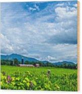 Pastoral Vermont Farmland Wood Print