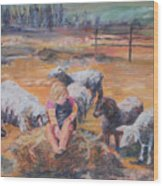 Pasture Acquaintances Wood Print