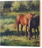 Pasture At Whites Crossing      Horse Painting Wood Print