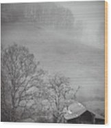 Pasture Field And Barn Wood Print