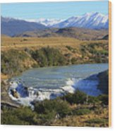 Patagonia Landscape Of Torres Del Paine National Park In Chile Wood Print