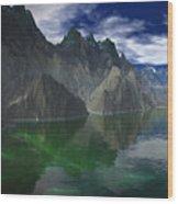 Patagonia Mountain Reflection Wood Print