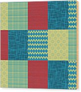 Patchwork Patterns - Muted Primary Wood Print
