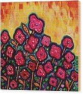 Patchwork Poppies Wood Print by Brenda Higginson