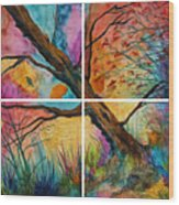 Patchwork Sky Tree Painting With Colorful Sky Wood Print
