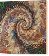 Patchwork Spiral Wood Print