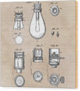 patent art Edison 1890 Lamp base Wood Print