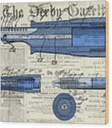 Patent, Old Pen Patent,blue Art Drawing On Vintage Newspaper Wood Print