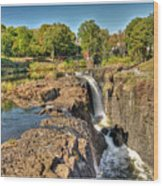 Paterson Water Falls Black And White Wood Print