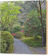 Path At Japanese Garden Wood Print