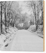 Path In The Snow Wood Print