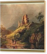 Path Next To The Ruins Of Belloque Castle L B With Decorative Ornate Printed Frame. Wood Print