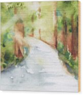 Path To Light Watercolor Wood Print