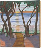 Path To The Ocean Wood Print