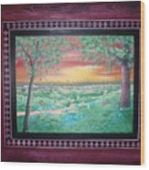 Path To The Pedernales River With Painted Frame Wood Print