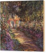 Pathway In Monet's Garden Wood Print