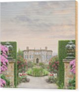 Pathway Leading To A Mansion Through Beautiful Gardens Wood Print