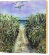 Pathway To The Shore Wood Print by Dina Sierra