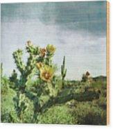 Patina Green Desert Bloom Wood Print