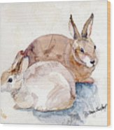 Patio Bunnies Wood Print