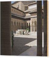 Patio De Los Leones Nasrid Palaces Alhambra Granada Wood Print