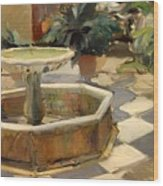 Patio Fountain In Seville Wood Print