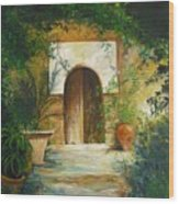 Patio Mallorquin Wood Print