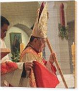 Patriarch Fouad Twal At Christmas Mass Wood Print