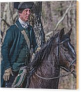 Patriot On Horse At Tower Park Battle Wood Print